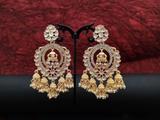 Gorgeous Clustered Pearl Full Stone Polki Earring