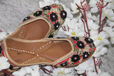 Red Women Embroidered Handcrafted Jutti
