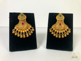 Glass Stone Gold Antique Earrings Magenta
