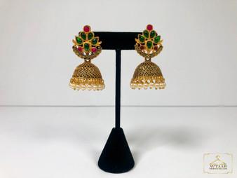 Glass Stone Oxidised Earrings