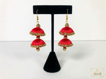 Red Glass Stone Thread Earring