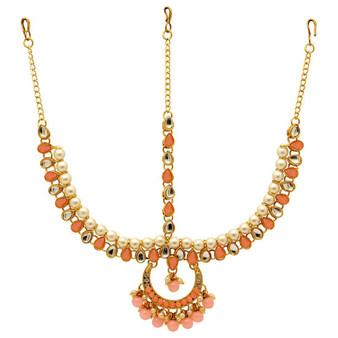 Peach Color Kundan Matha Patti