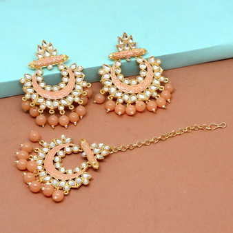 Meenakari Maang Tikka With Earrings