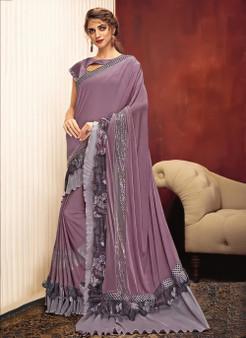 Reception Wear Sequins Work Stitched Saree