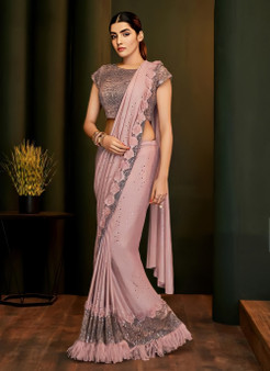 Party Wear Sequins Stitched Pink Saree