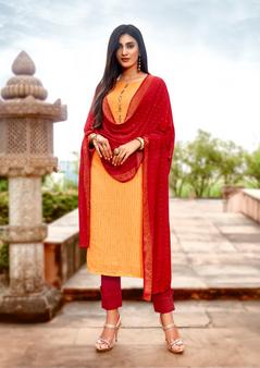 Viscose Designer Fancy Salwar Kameez Orange