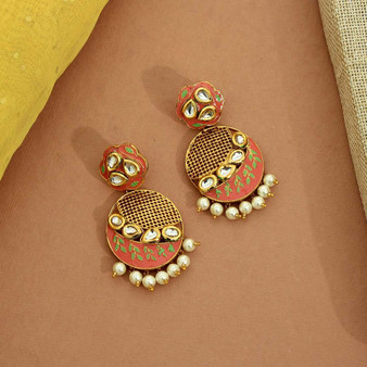 Dark Peach Color Kundan Meenakari Earrings
