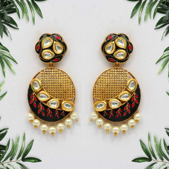 Refer Friends Grey Color Kundan Meenakari Earrings