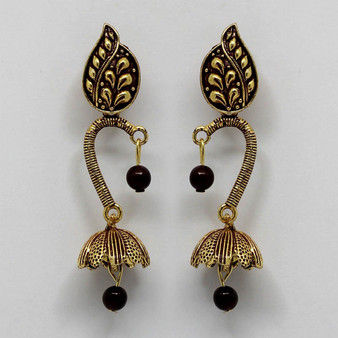 Maroon Color Beads Oxidised Earrings