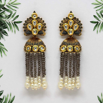 Grey Color Kundan Antique Earrings