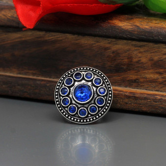 Blue Color Glass Stone Oxidised Ring