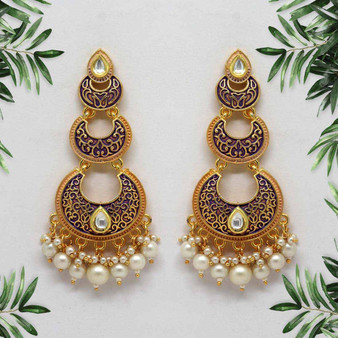 Purple Color Mint Meena Earrings