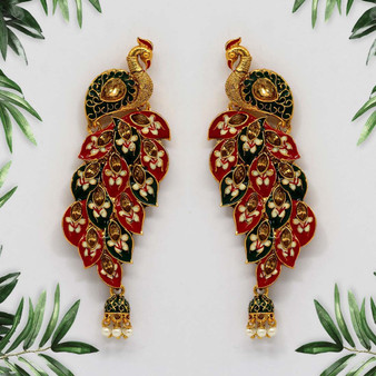 Kundan Meenakari Maroon Color Earrings