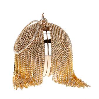 Diamonds Rhinestone Round Ball Golden Clutch