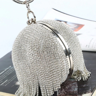 Sliver Diamonds Rhinestone Round Ball Tassel Clutch