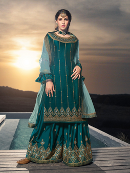 Gorgeous Embroidery Hand Work Skirt Palazzo Suit