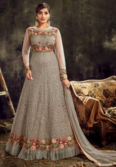 Grey Gorgeous Butterfly Net Anarkali Suit