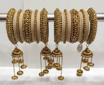 Beige Bridal Jhumki And Jhumar Bangle