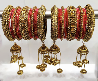 Red Bridal Jhumki And Jhumar Style Bangle