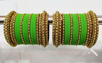 Parrot Green Bridal Jhumki And Jhumar Style Bangle