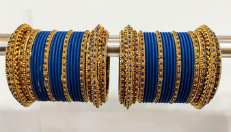 Royal Blue Bridal Jhumki And Jhumar Style Bangle