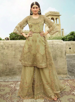Embroidery Net Swarovski Work Salwar Suit Green
