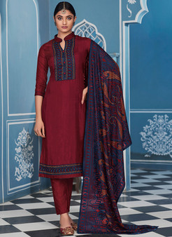 Wedding Wear Designer Silk Churidar Suit