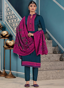 Embroidery Silk Teal Blue Churidar Salwar Kameez