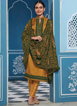 Mustard & Green Embroidery Churidar Salwar Kameez