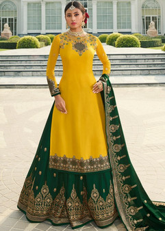 Yellow Embroidery Designer Kurti-Skirt Suit