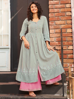 Rayon Printed Long Kurti Grey