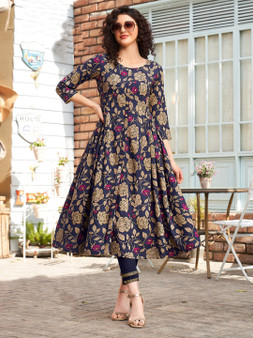 Flared Printed Embroidery Work Long Kurti