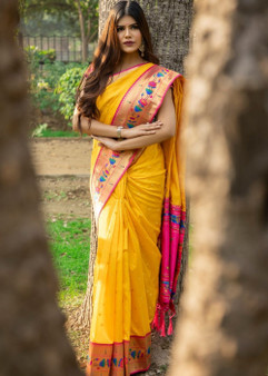 Reception Wear Silk Saree Collection Yellow