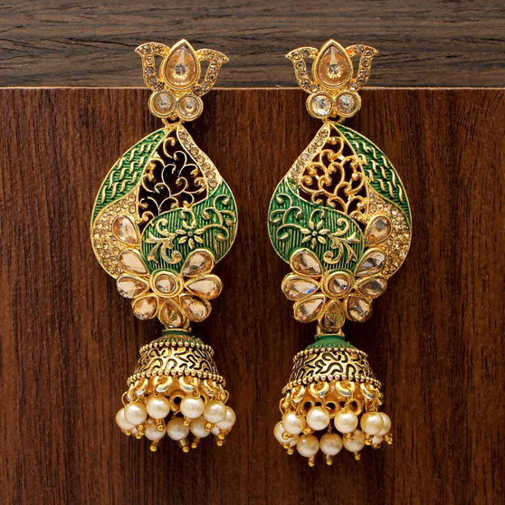Glass Stone Polki Earrings