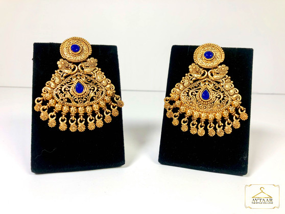 Glass Stone Gold Antique Earrings