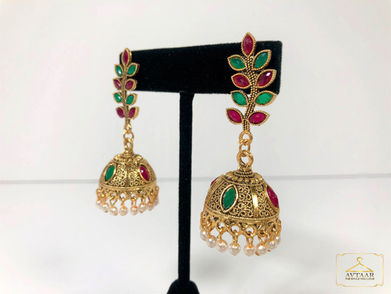 Maroon & Green Oxidised Earrings