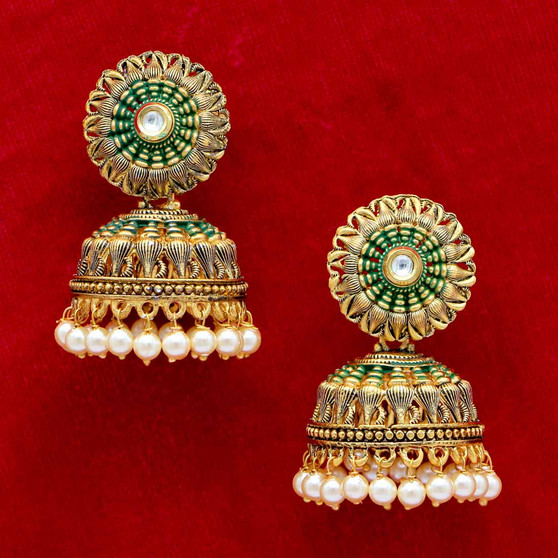 Glass Stone Tample Earrings Green