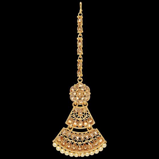 Glass Stone Maang Tikka Gold