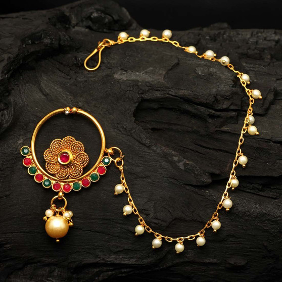 Maroon & Green Color Glass Stone Nose Nath