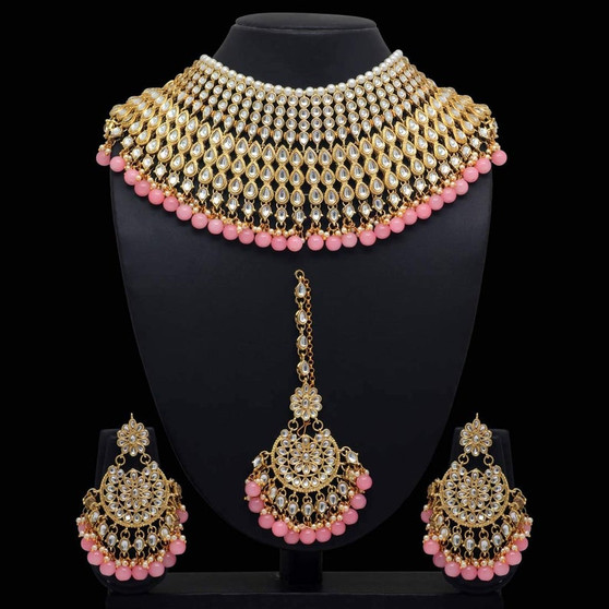 Peach Color Kundan Necklace With Earring & Maang Tikka
