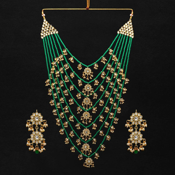 Wedding Collection Green Color Kundan Necklace With Earrings
