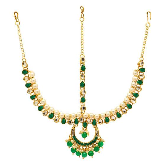 Green Color Kundan Matha Patti