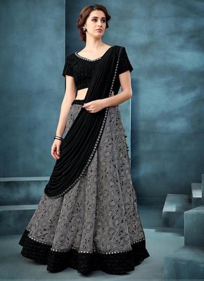 Reception Wear Embroidery Work Jacquard Grey Stitched Lehenga Choli