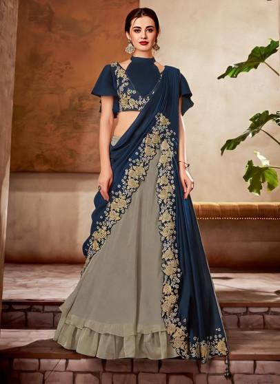 Silk Reception Wear Thread Work Stitched Lehenga Choli