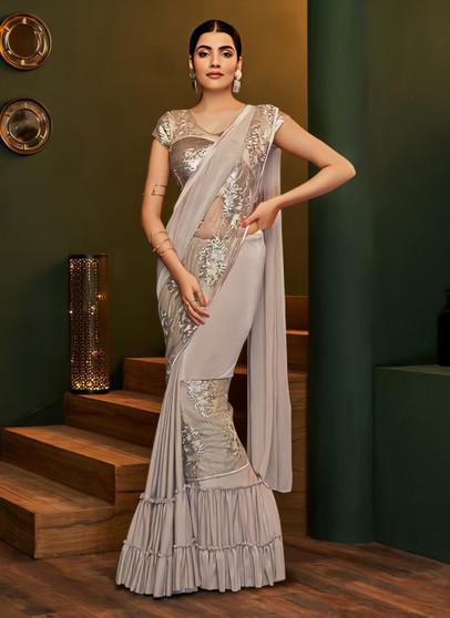 Party Wear Lycra Stitched Brown Saree