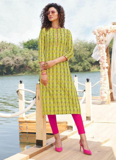 Designer Straight Cut  Printed Kurti Lime
