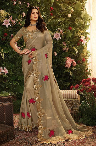 Brown Lycra Gorgeous Embroidery Work Saree