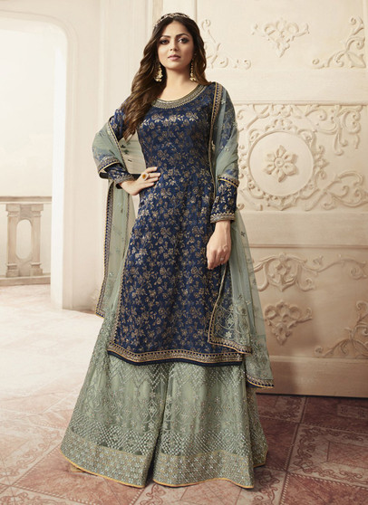 Navy Blue Jacquard Embroidery Work Palazzo Suit