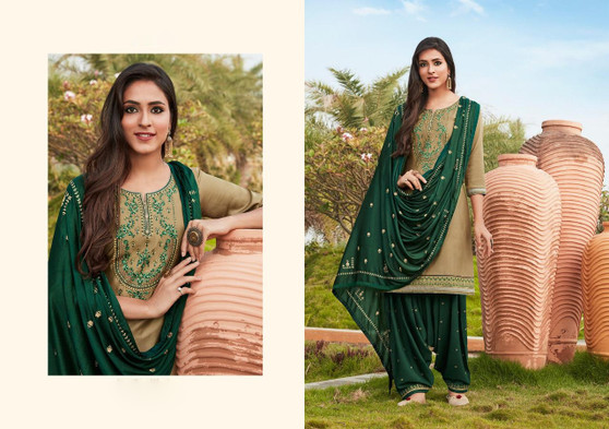 Cotton Silk Patiyala Suits Beige Color