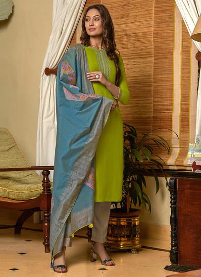 Muslin Embroidery Work Salwar Kameez Green Color